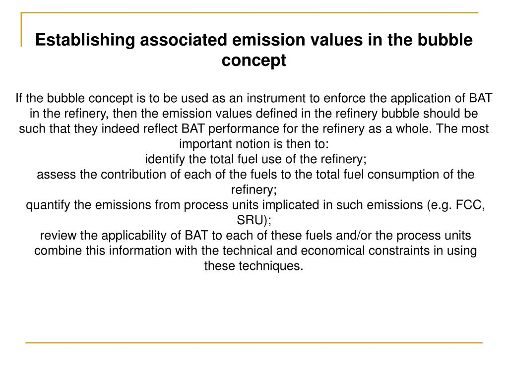 Establishing associated emission values in the bubble concept