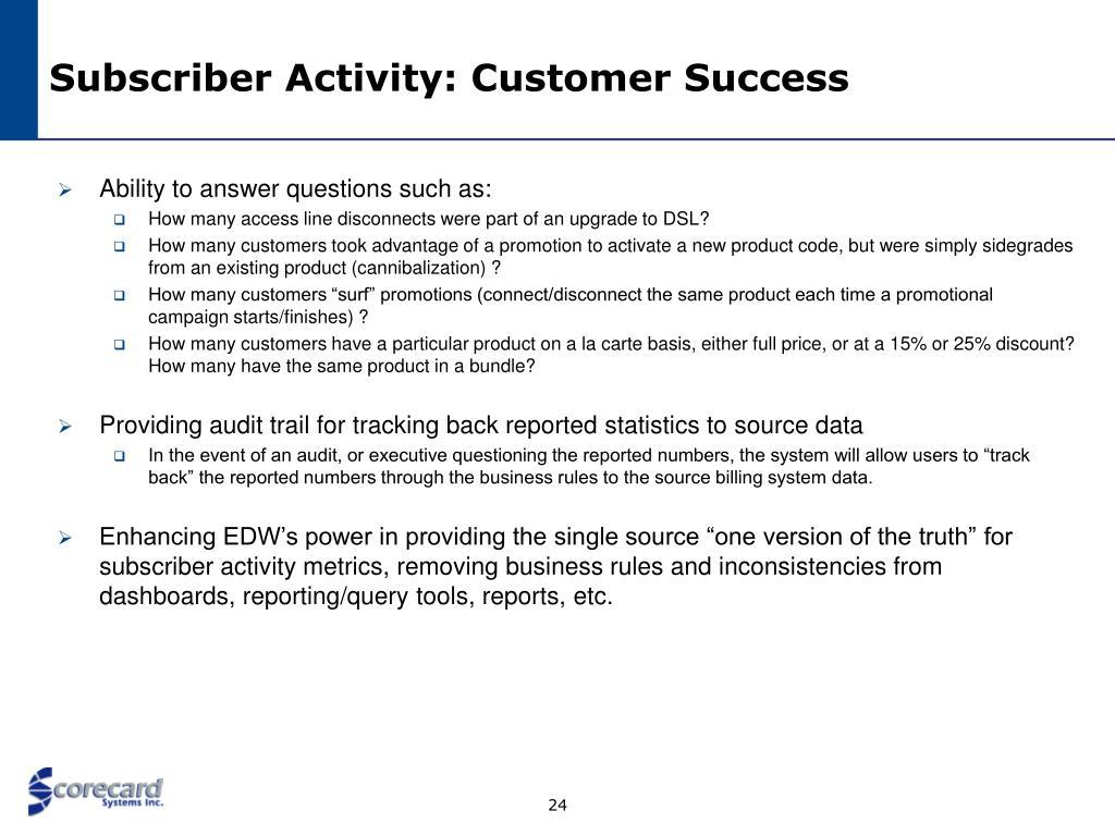 Subscriber Activity: Customer Success