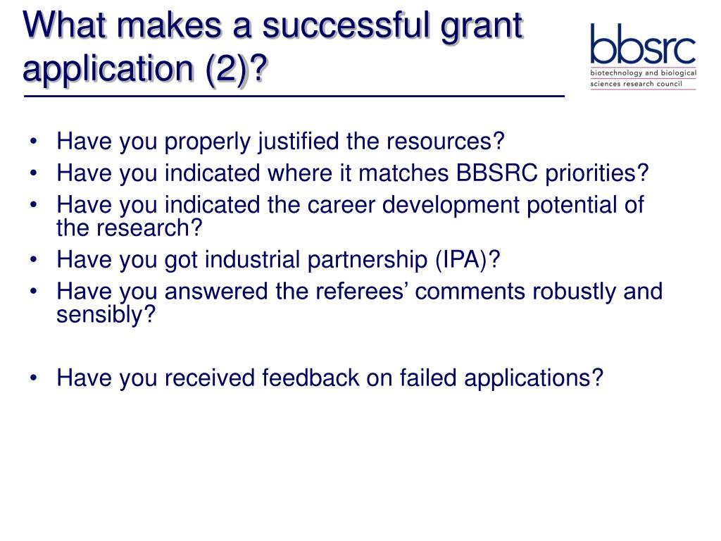 What makes a successful grant application (2)?