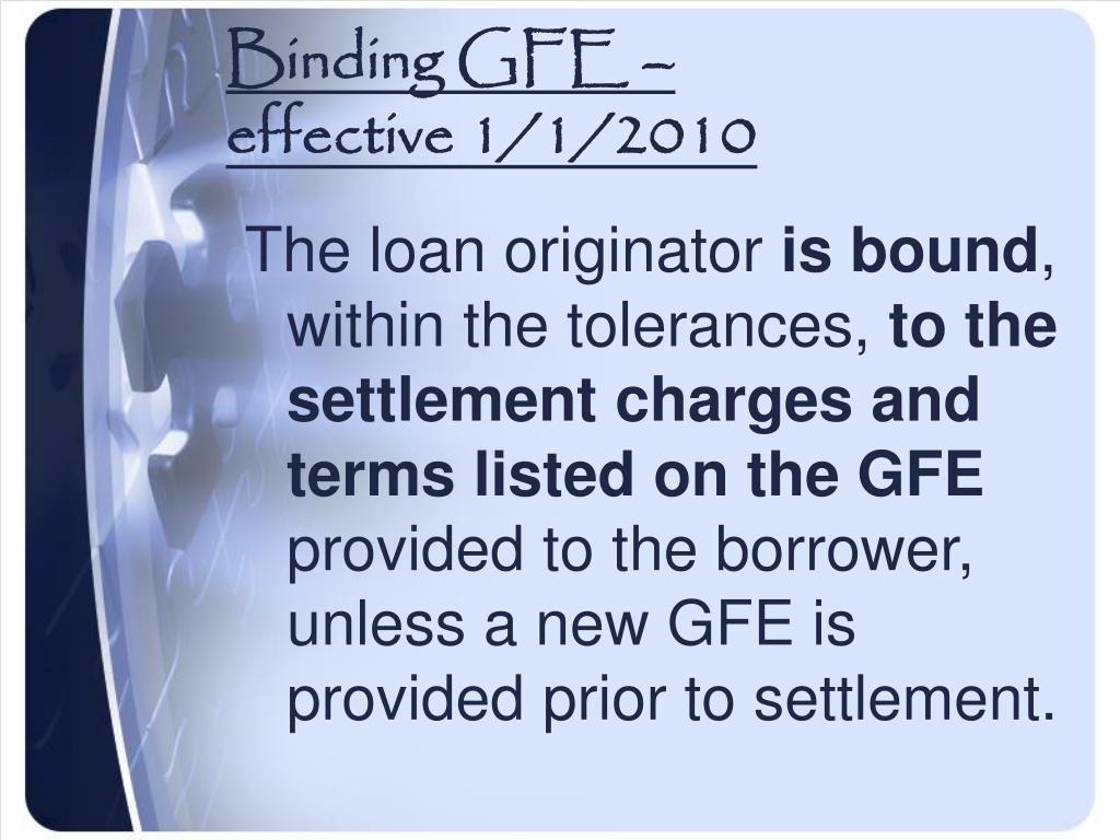 Binding GFE –