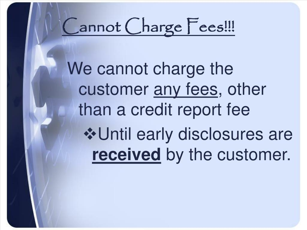 Cannot Charge Fees!!!