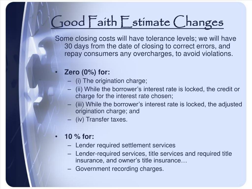 Good Faith Estimate Changes