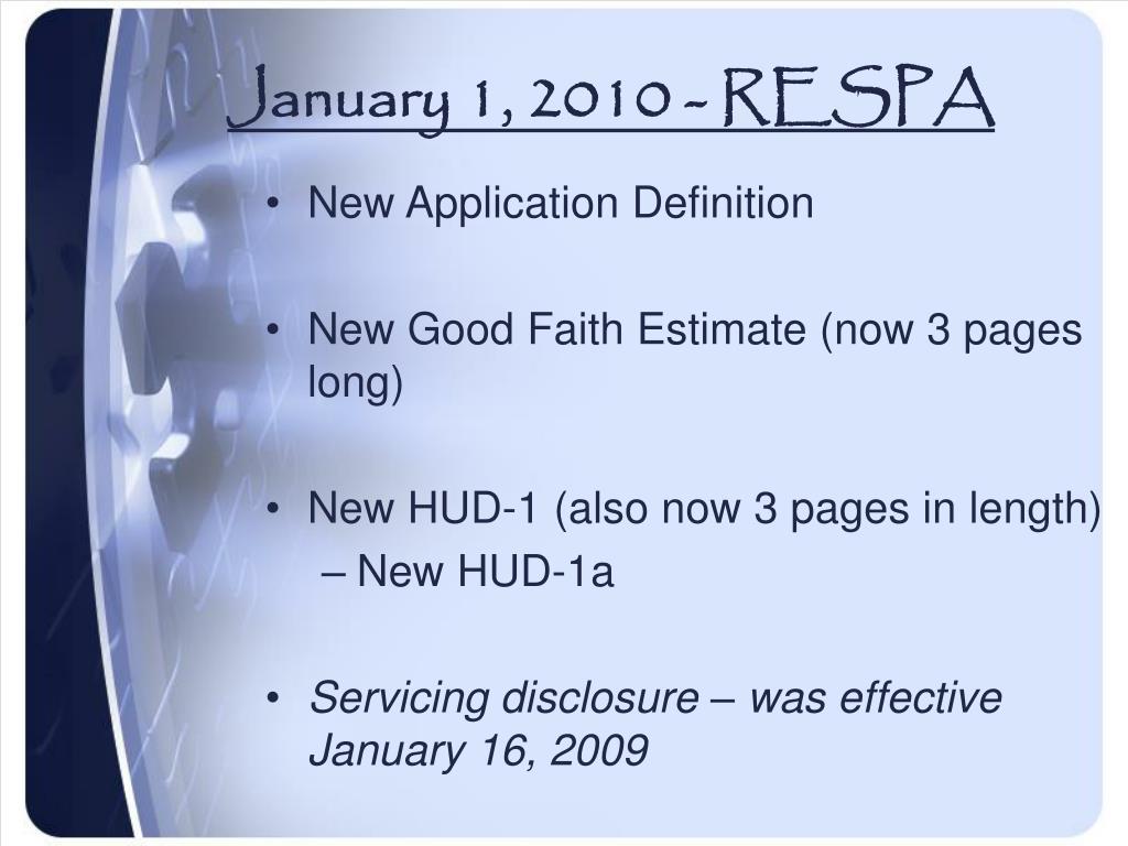 January 1, 2010 - RESPA