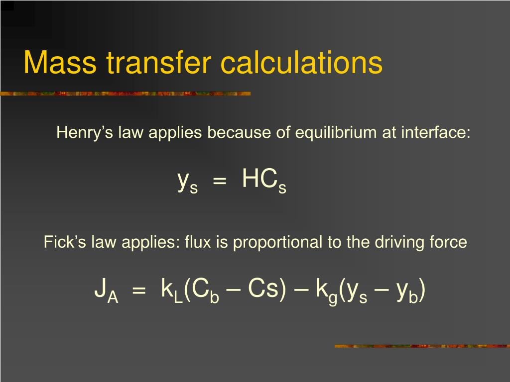 Mass transfer calculations