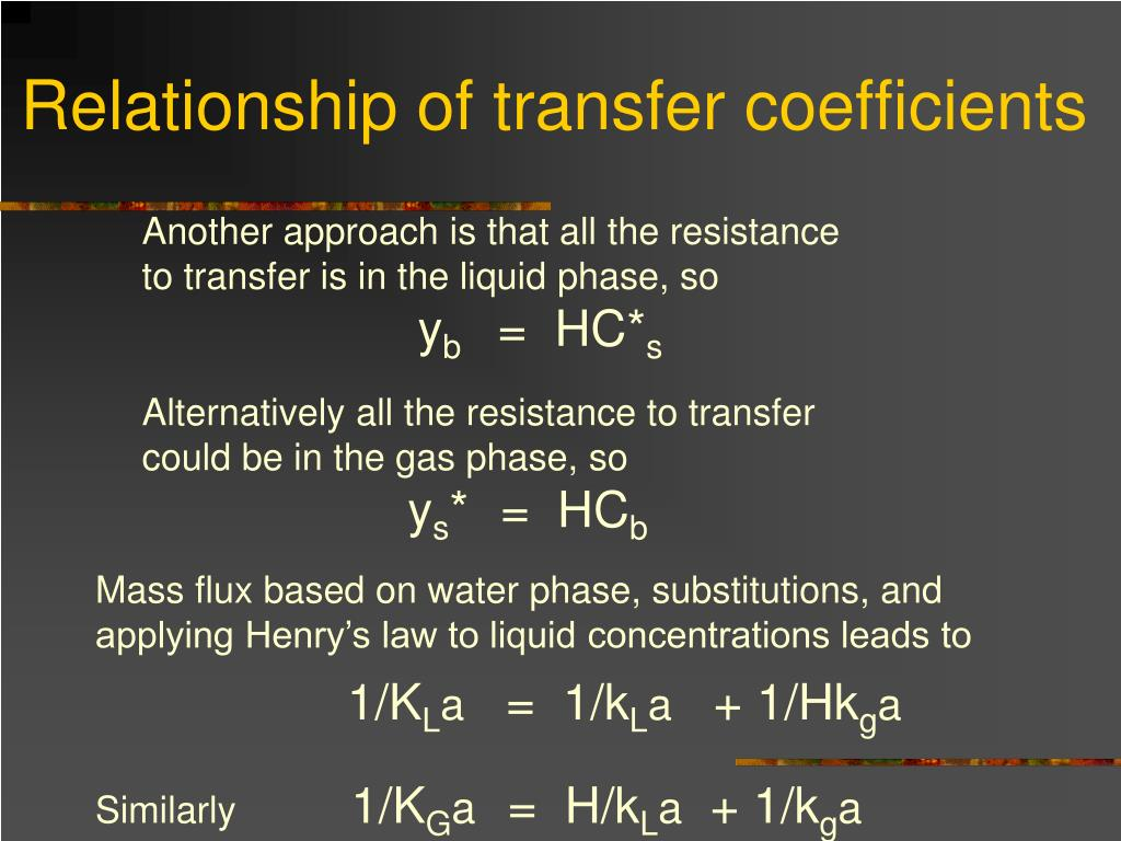 Relationship of transfer coefficients