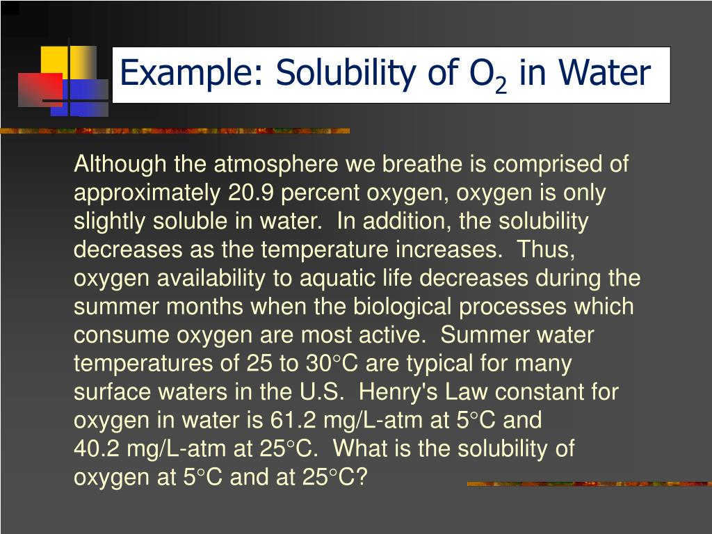 Example: Solubility of O