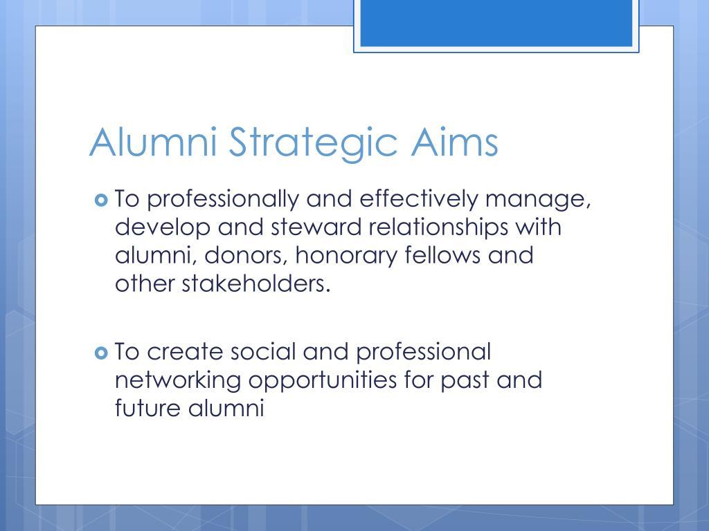 Alumni Strategic Aims