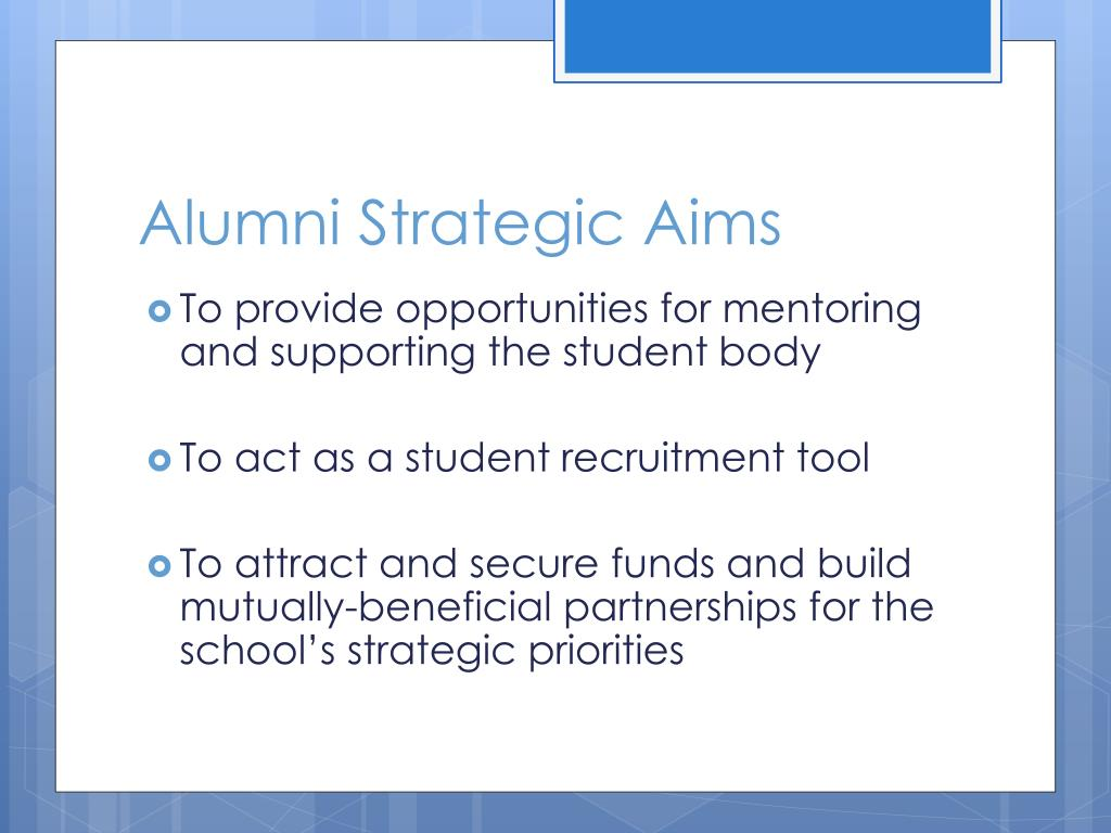 Alumni Strategic Aims