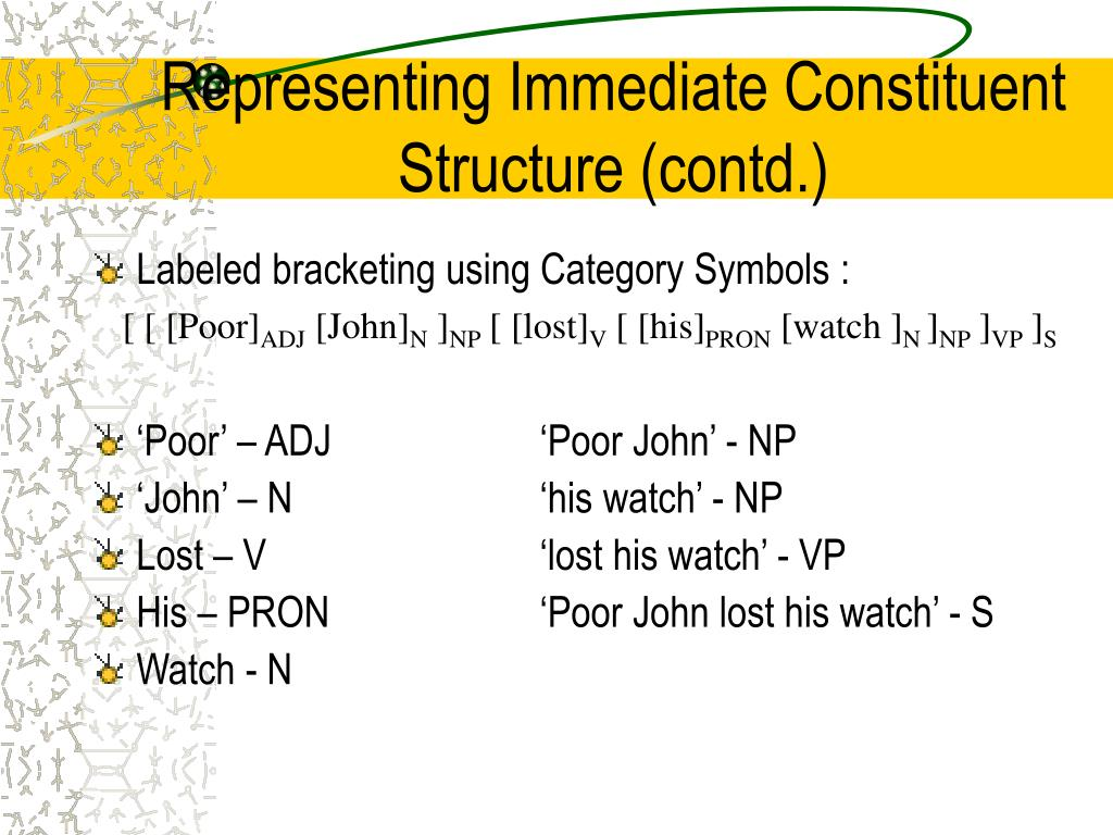 Representing Immediate Constituent Structure (contd.)
