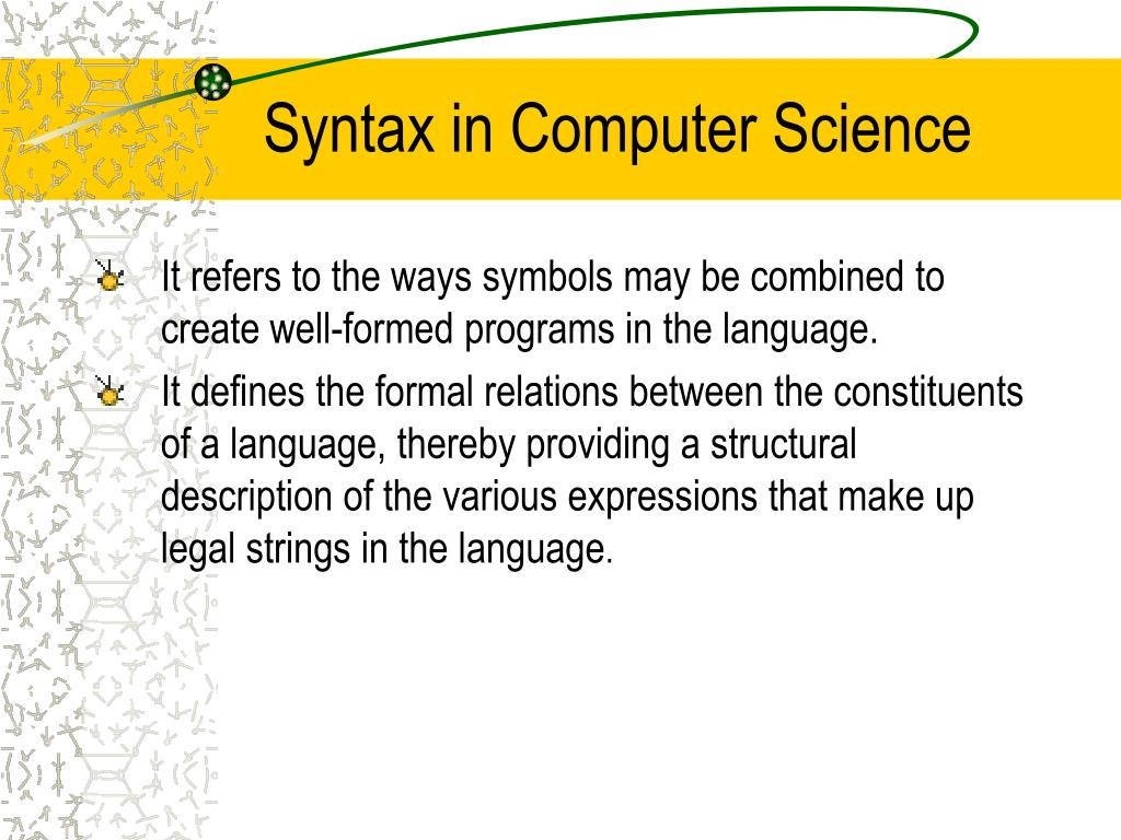 Syntax in Computer Science