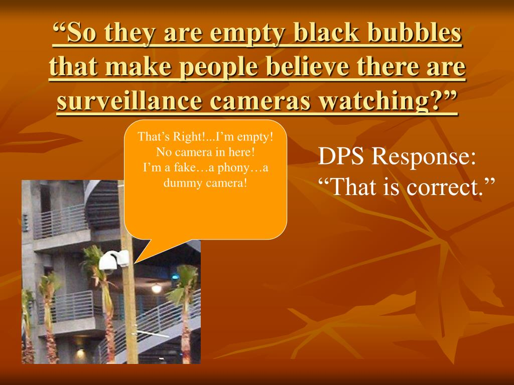 """So they are empty black bubbles that make people believe there are surveillance cameras watching?"""