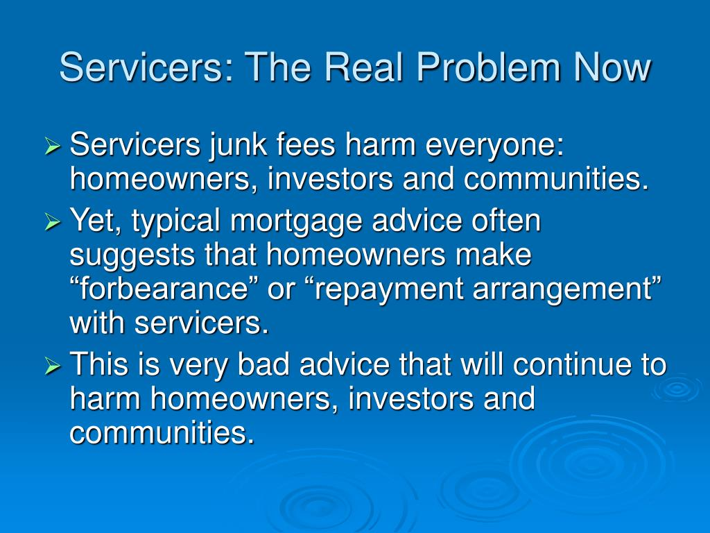 Servicers: The Real Problem Now