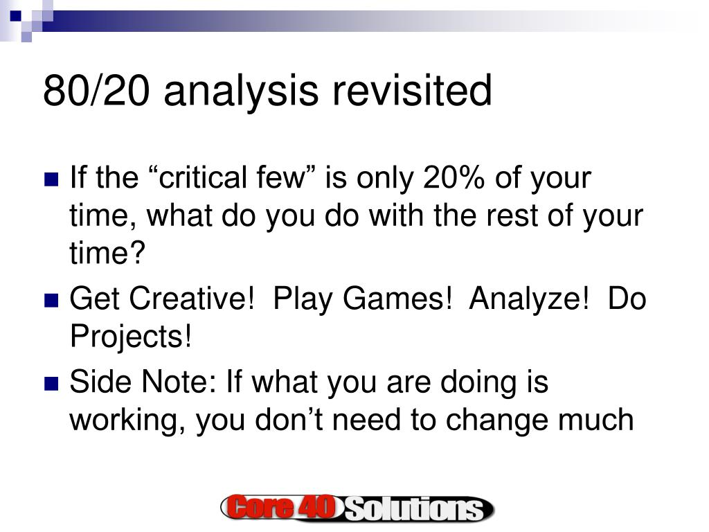 80/20 analysis revisited