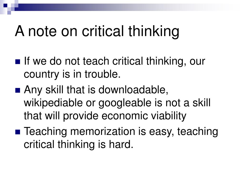 A note on critical thinking