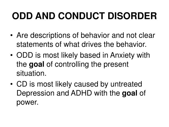 ODD AND CONDUCT DISORDER