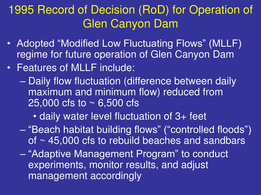 1995 Record of Decision (RoD) for Operation of Glen Canyon Dam