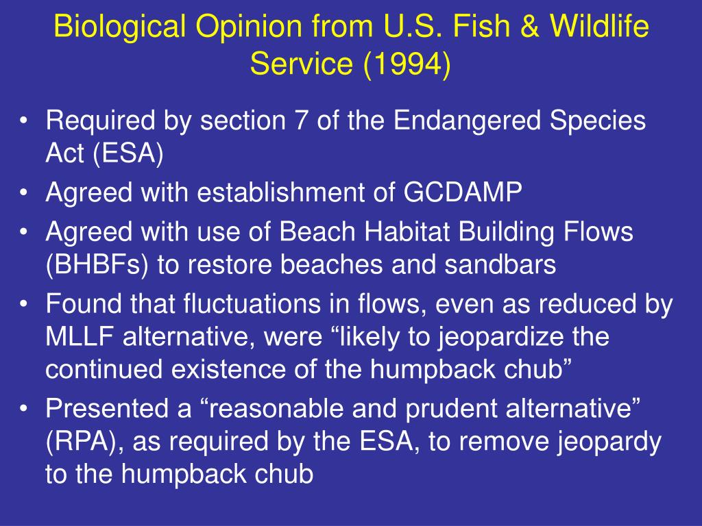 Biological Opinion from U.S. Fish & Wildlife Service (1994)