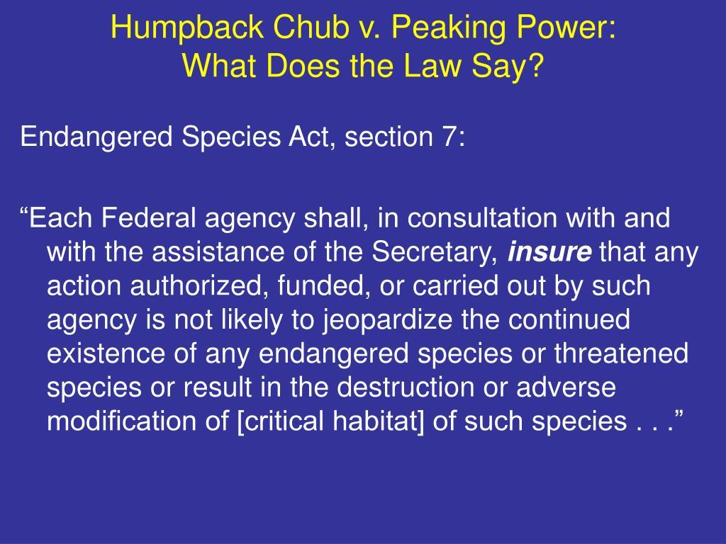 Humpback Chub v. Peaking Power: