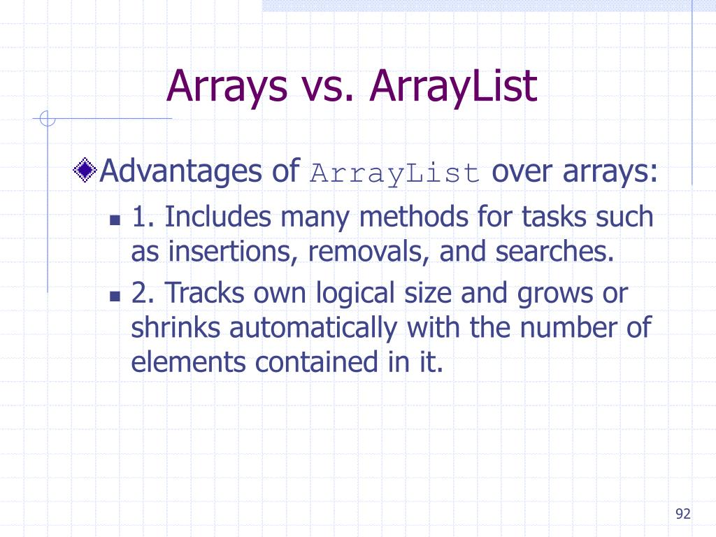 Arrays vs. ArrayList