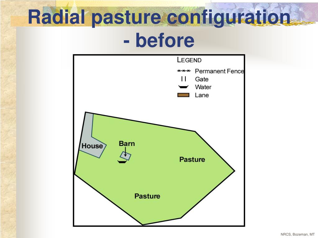 Radial pasture configuration - before