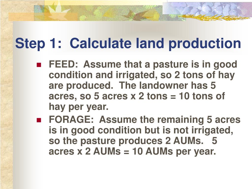 Step 1:  Calculate land production