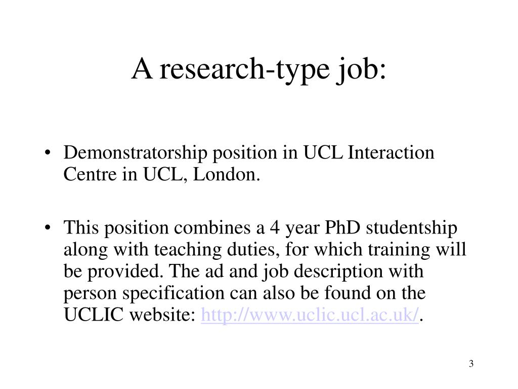 A research-type job: