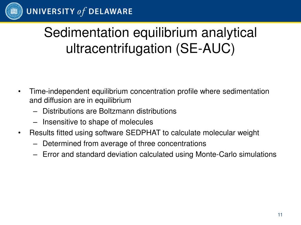 Sedimentation equilibrium analytical ultracentrifugation (SE-AUC)