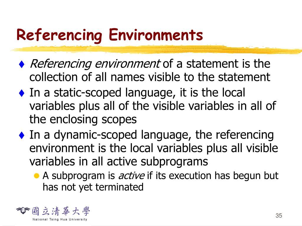 Referencing Environments