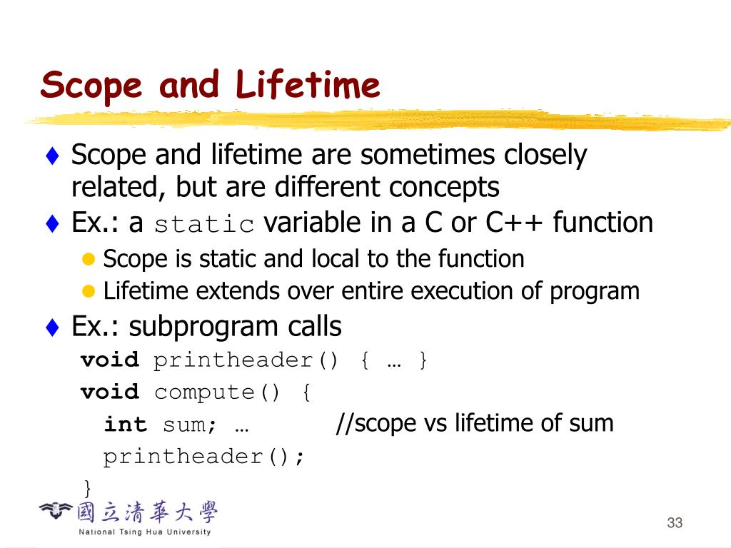 Scope and Lifetime