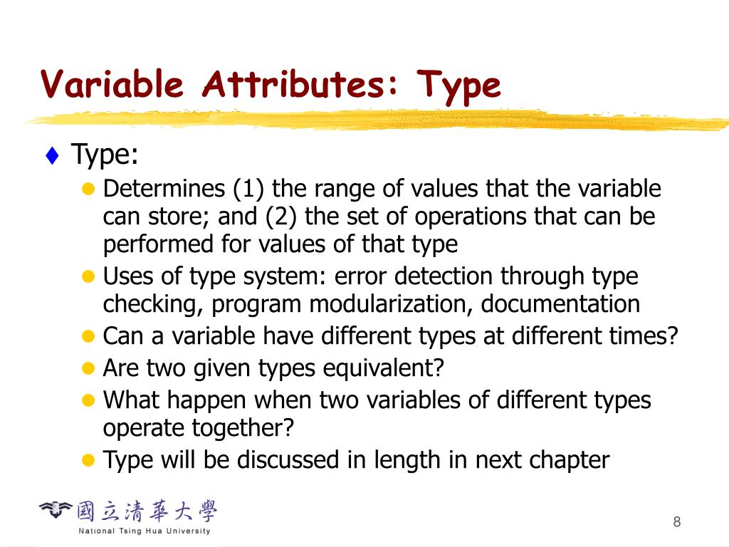 Variable Attributes: Type
