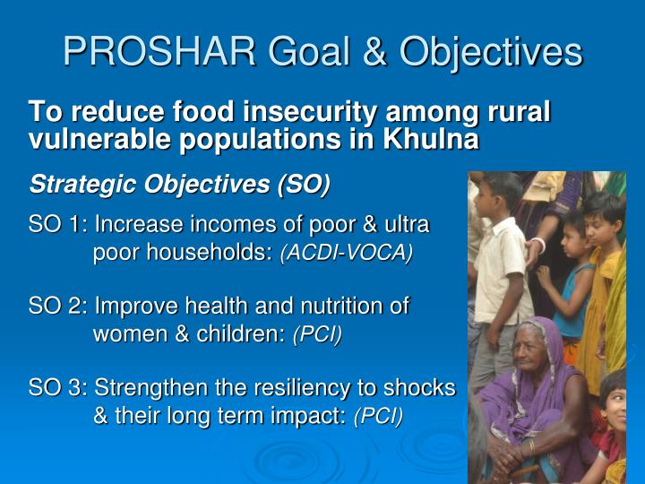Proshar goal objectives
