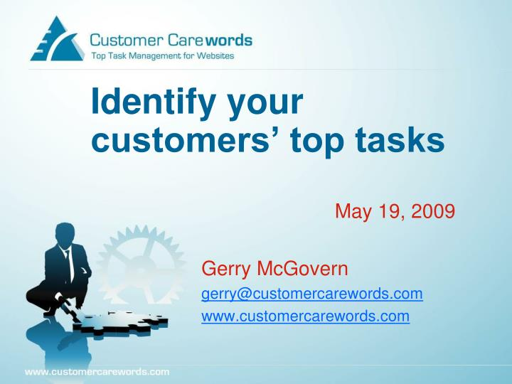 Identify your customers top tasks l.jpg