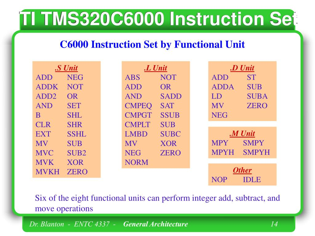 TI TMS320C6000 Instruction Set