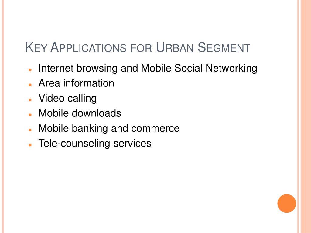 Key Applications for Urban Segment