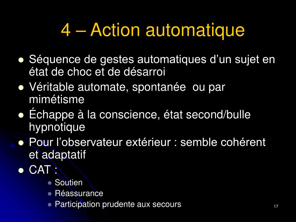 4 – Action automatique