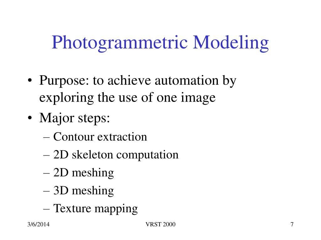 Photogrammetric Modeling