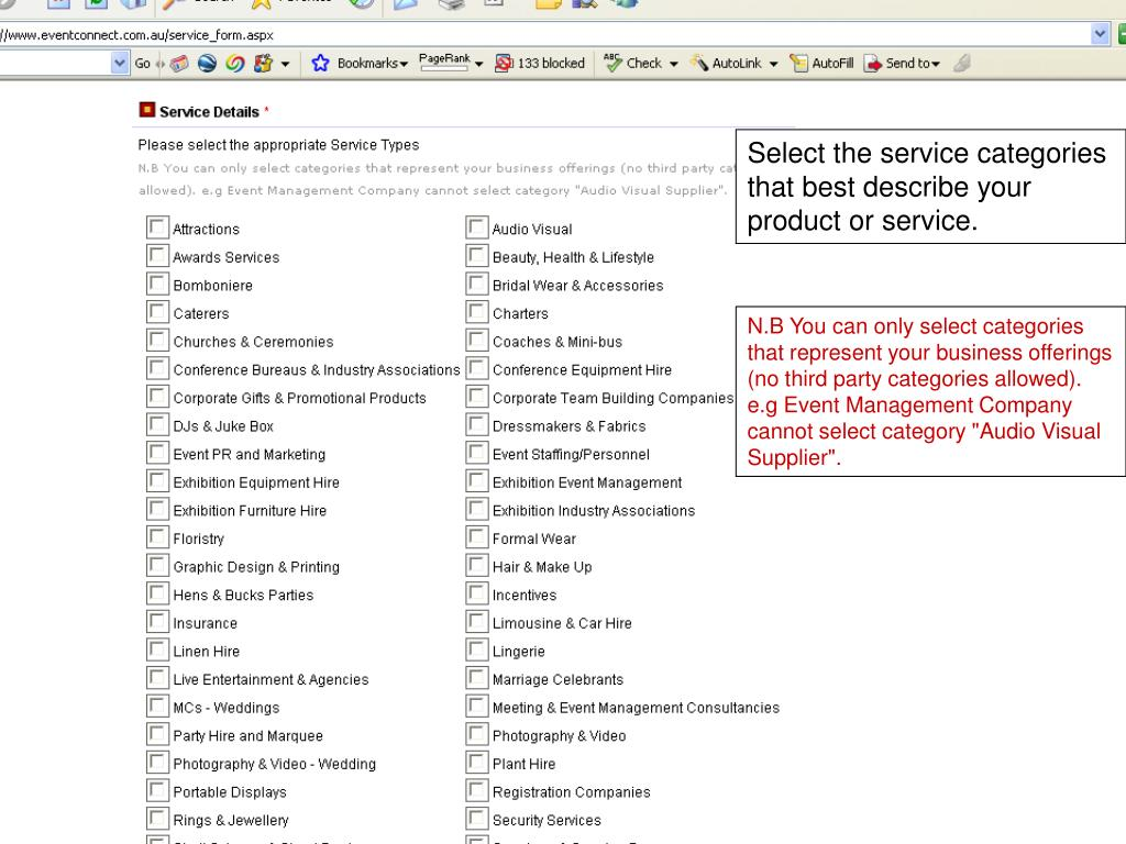 Select the service categories that best describe your product or service.