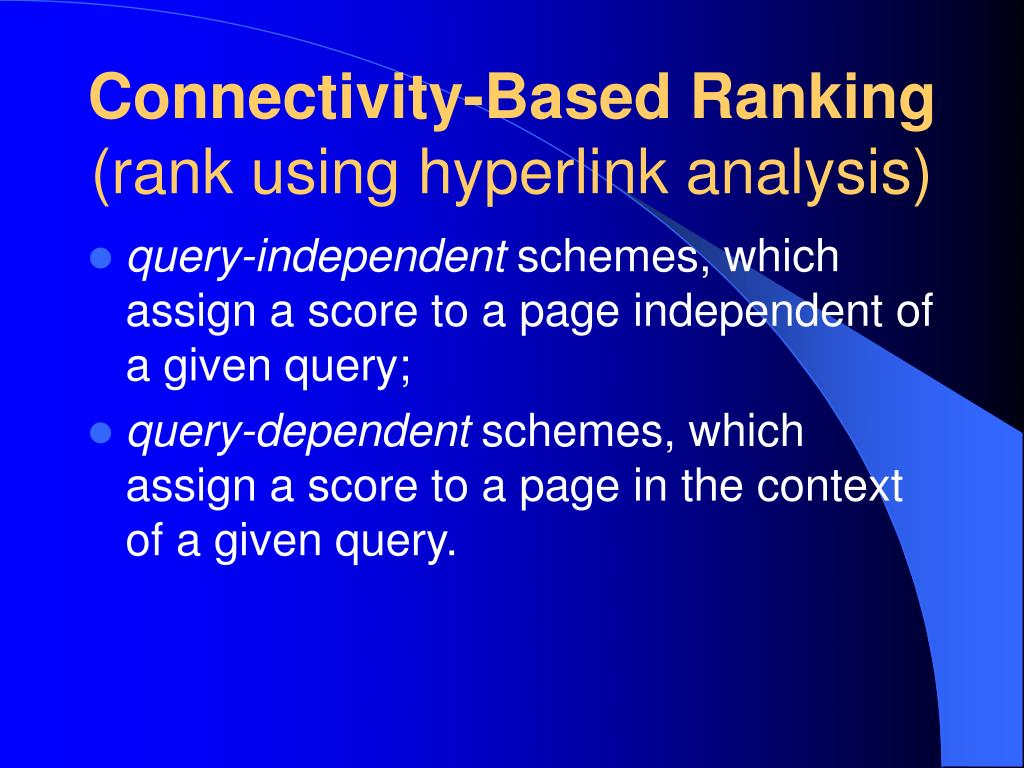 Connectivity-Based Ranking