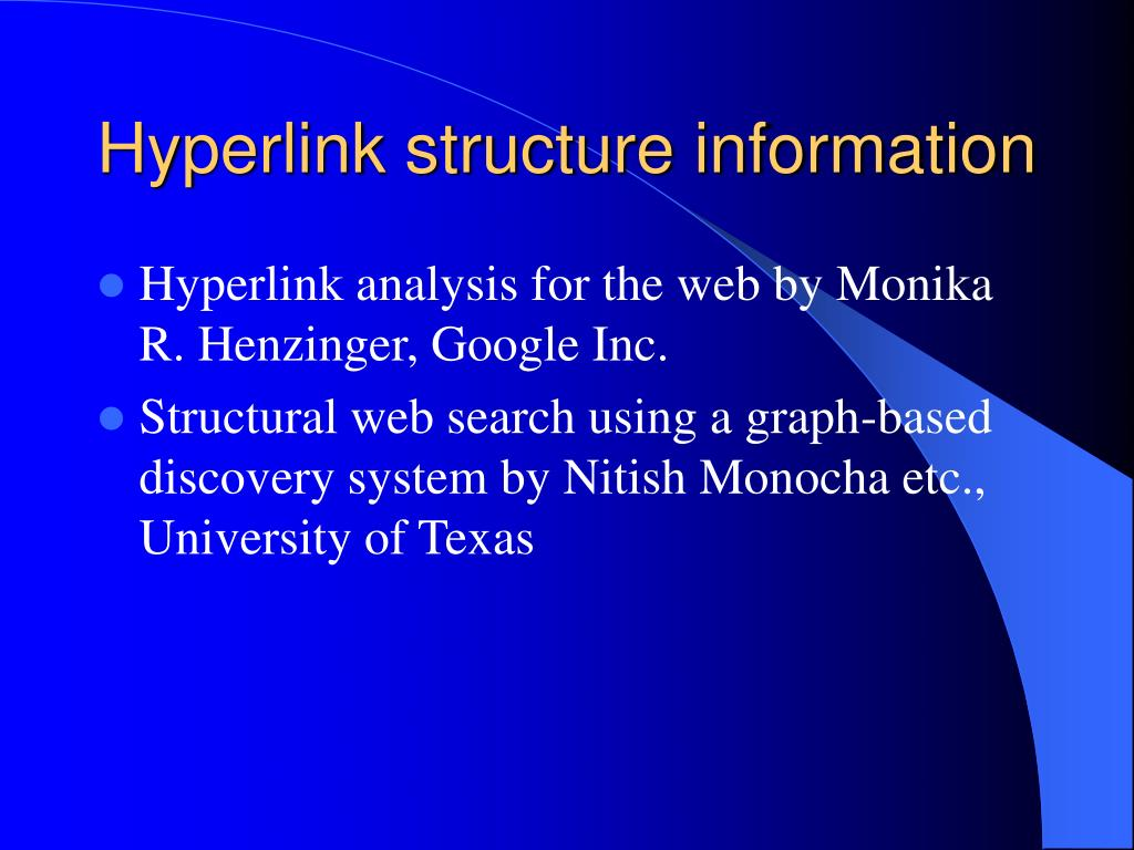 Hyperlink structure information