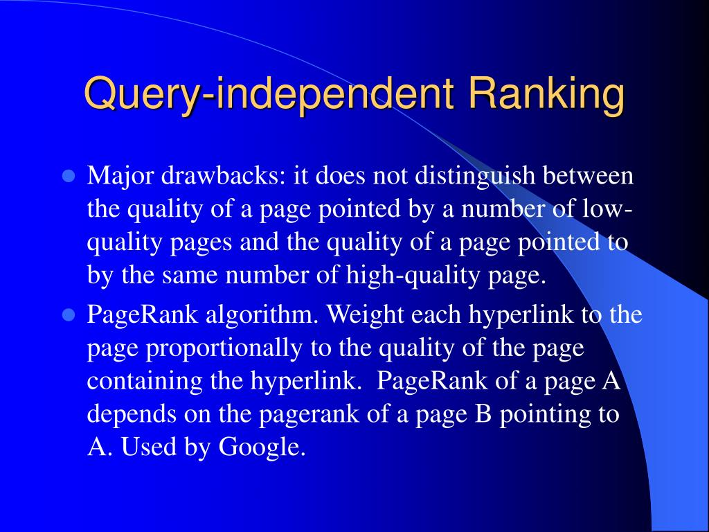 Query-independent Ranking