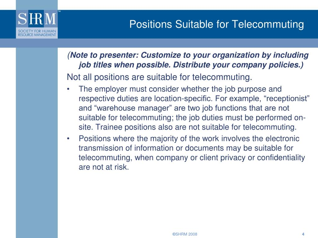 Positions Suitable for Telecommuting