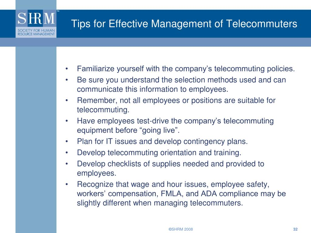 Tips for Effective Management of Telecommuters
