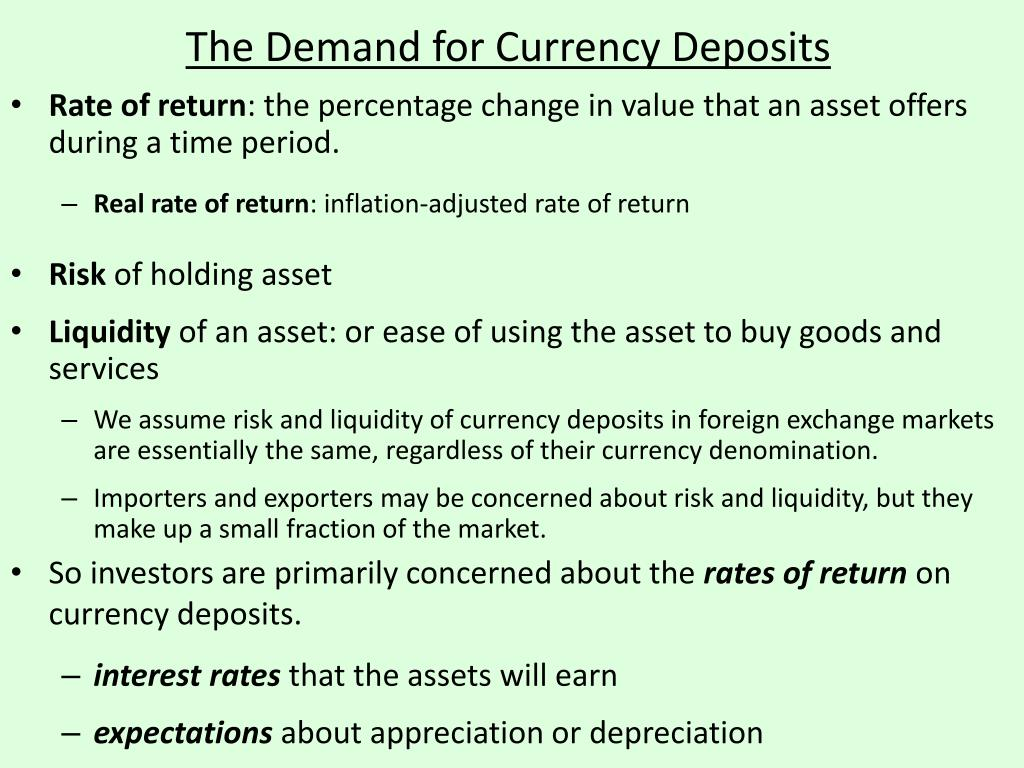 The Demand for Currency Deposits