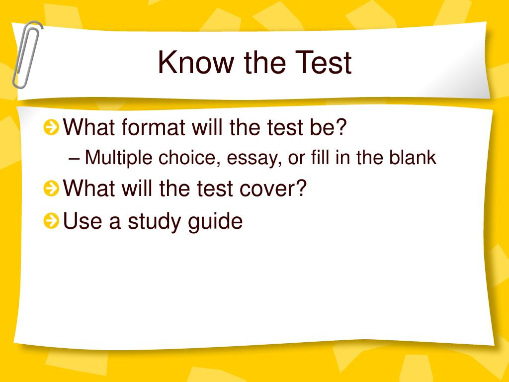 Know the Test