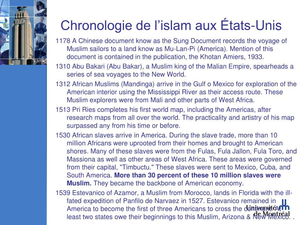 Chronologie de l'islam aux États-Unis