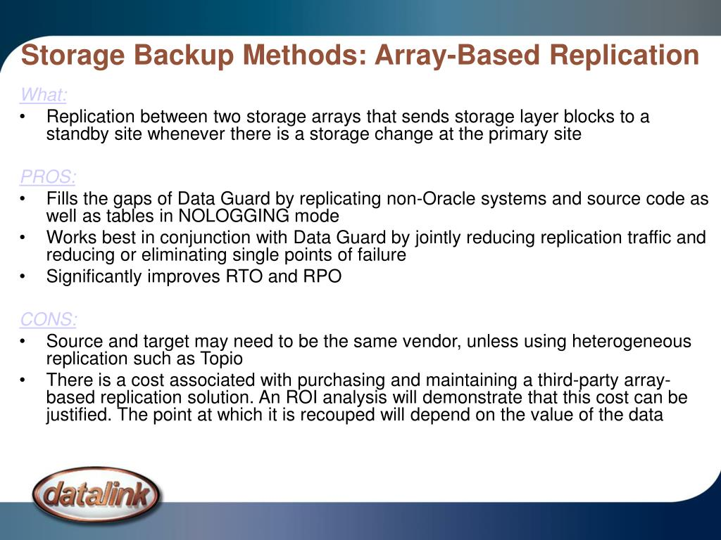 Storage Backup Methods: Array-Based Replication
