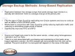 storage backup methods array based replication