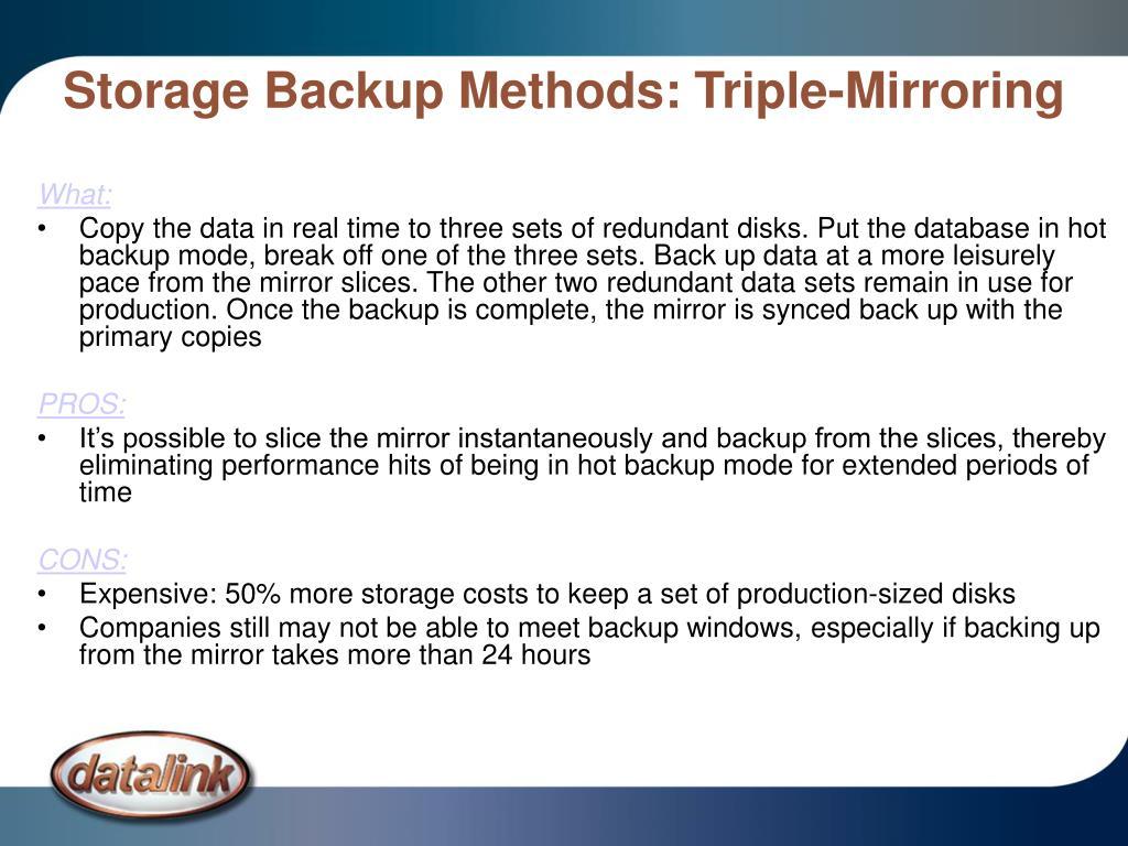 Storage Backup Methods: Triple-Mirroring