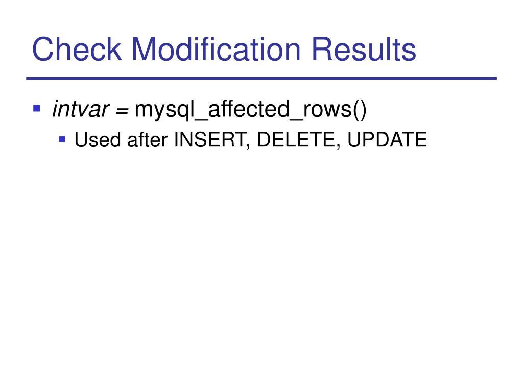 Check Modification Results