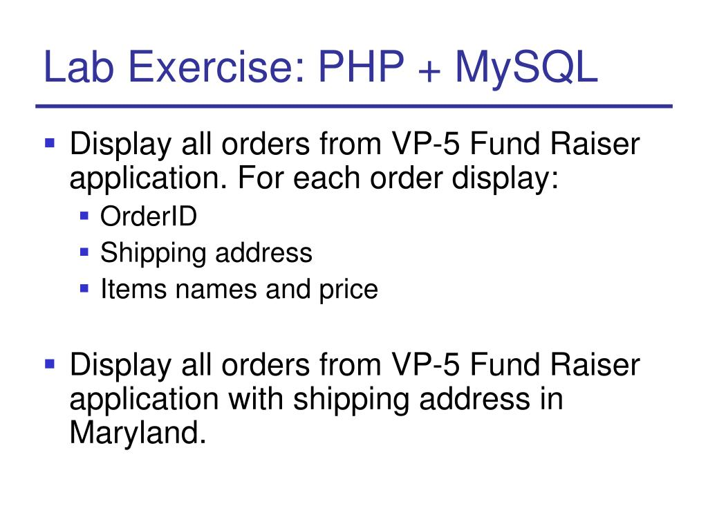 Lab Exercise: PHP + MySQL